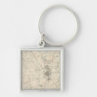 Taunton, Massachusetts Silver-Colored Square Keychain