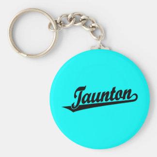 Taunton script logo in black basic round button keychain