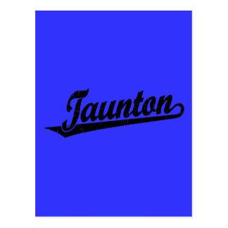 Taunton script logo in black distressed postcard