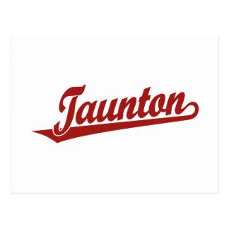 Taunton script logo in red postcard