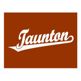 Taunton script logo in white postcard