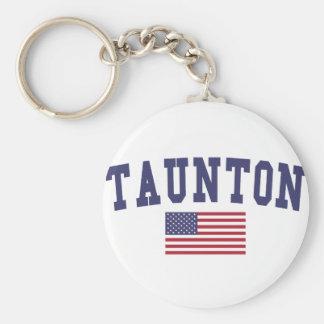 Taunton US Flag Basic Round Button Keychain
