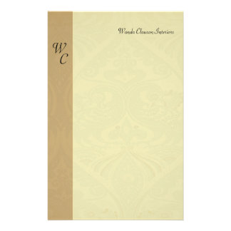 Taupe and Beige Monogram Stationery