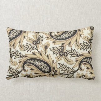 Taupe and Black Paisley Pillow