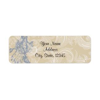 Taupe and Blue Iris Posh Wedding Label