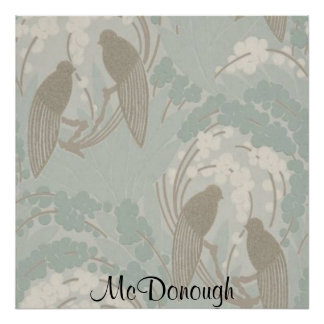 Taupe and Blue Paradise Garden Pattern Poster
