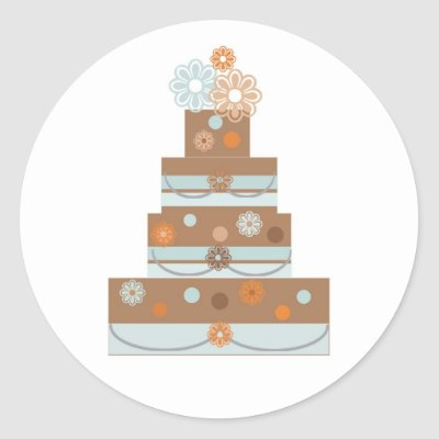 Taupe and Blue Wedding Cake