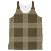 Taupe And Brown Plaid Pattern Tank Top