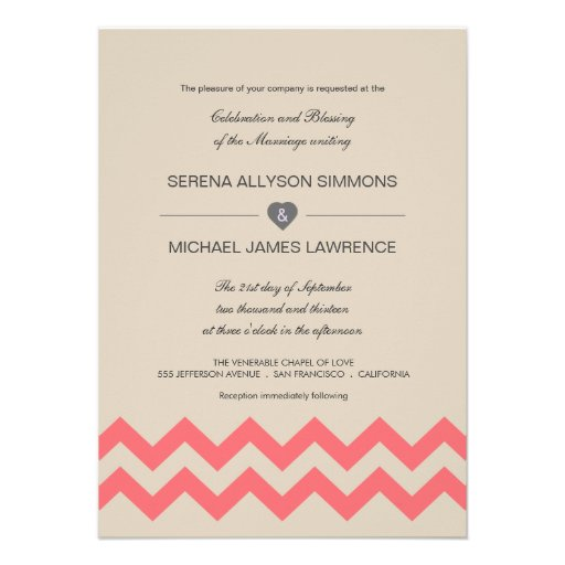 Taupe and Coral Chevron Wedding Invitations