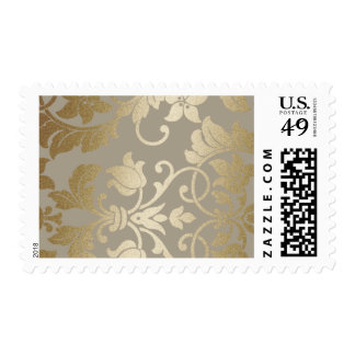 Taupe and Gold Damask Brocade Baroque Postage