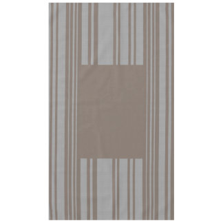 Taupe and gray awning stripe cotton tablecloth