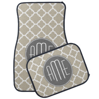 Taupe and Gray Quatrefoil Pattern Triple Monogram Car Mat