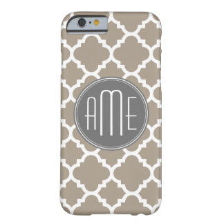 Taupe and Gray Quatrefoil Pattern Triple Monogram iPhone 6 Case