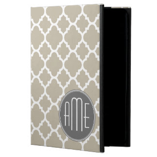 Taupe and Gray Quatrefoil Pattern Triple Monogram Powis iPad Air 2 Case