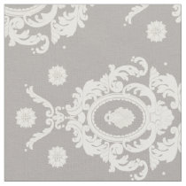 Taupe and Ivory Vintage Damask Pattern Fabric