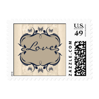 Taupe and Navy Royal Medallion Love Stamp