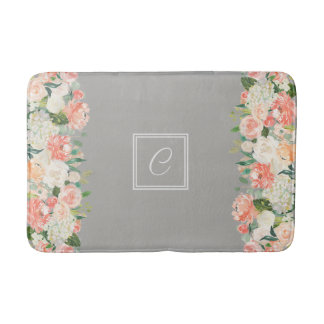 Taupe and Peach Watercolor Floral with Monogram Bathroom Mat