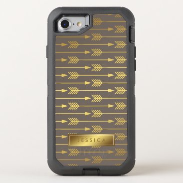 heartlocked Taupe and Printed Gold Arrows Pattern OtterBox Defender iPhone 7 Case