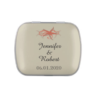 Taupe and Tangerine Seaside Wedding Jelly Belly Candy Tin