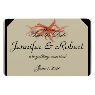 Taupe and Tangerine Seaside Wedding Save the Date Rectangular Photo Magnet