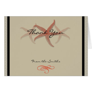 Taupe and Tangerine Seaside Wedding Thank You Card