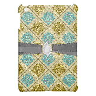 taupe and teal diamond damask cover for the iPad mini