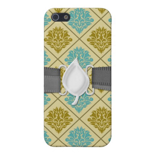 taupe and teal diamond damask iPhone 5 cases