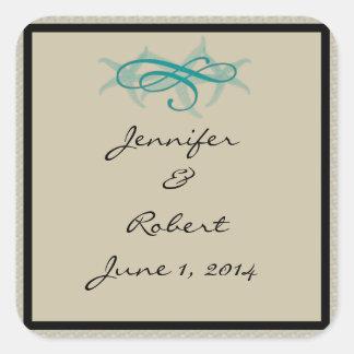 Taupe and Teal Seaside Wedding Envelope Seal