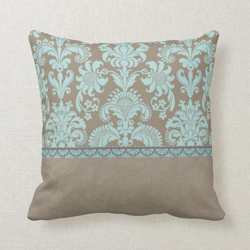 Throw Pillows For Taupe Couch : Taupe and Turquoise Damask Throw Pillow Zazzle