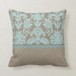 Taupe and Turquoise Damask Throw Pillow
