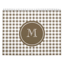 Taupe and White Gingham, Your Monogram Calendar