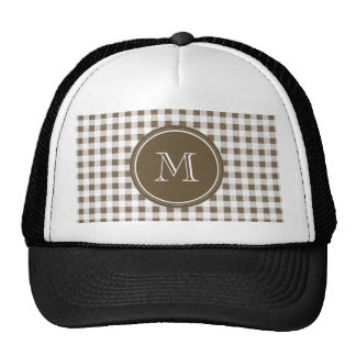 Taupe and White Gingham, Your Monogram Trucker Hat