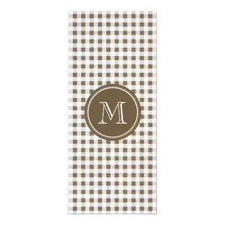 """Taupe and White Gingham, Your Monogram 4"""" X 9.25"""" Invitation Card"""