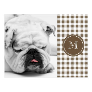 Taupe and White Gingham, Your Monogram Postcard