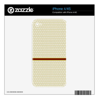 Taupe and White Star Pattern with Wine Stripe Skins For iPhone 4