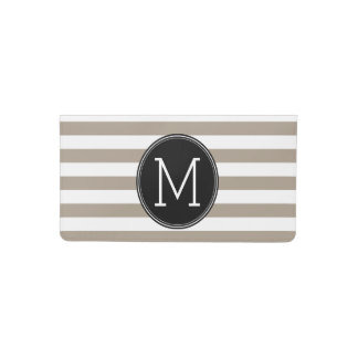Taupe and White Striped Pattern Black Monogram Checkbook Cover