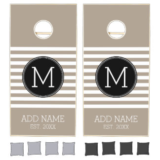 Taupe and White Striped Pattern Black Monogram Cornhole Set