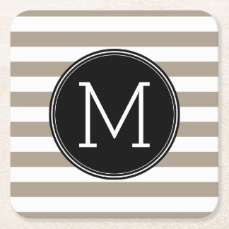 Taupe and White Striped Pattern Black Monogram Square Paper Coaster