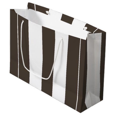 Taupe and White Vertical Stripes Large Gift Bag