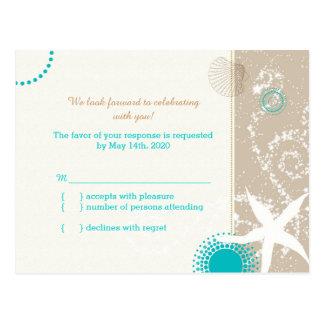 Taupe Aqua Beach Wedding Celebration RSVP Postcard