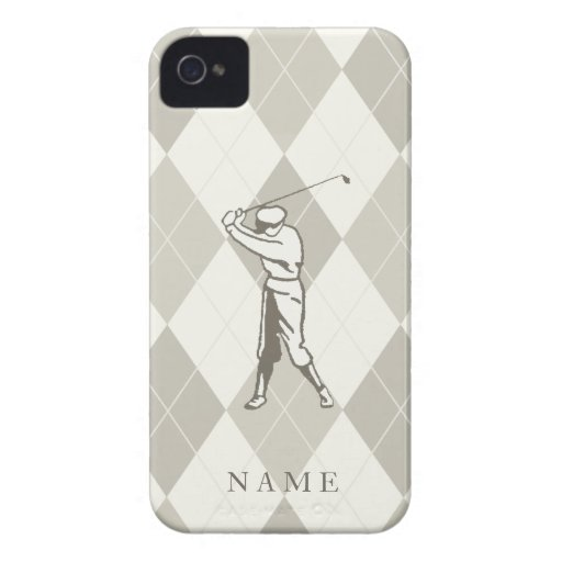 Taupe Argyle Pattern, Personalized Golf Case-Mate iPhone 4 Case