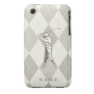 Taupe Argyle Pattern, Personalized Golf iPhone 3 Cover