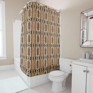 BathingAndBeaching Taupe Beige Burnt Orange Brown Bali Batik Pattern Shower Curtain