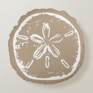 Taupe beige color sanddollar seashell throw pillow