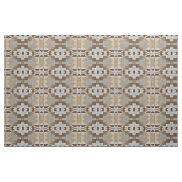 Aztec Themed Taupe Beige Tan Dark Brown Gray Ethnic Look Fabric