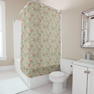 Taupe Birds, Flowers, and Scrolls Shower Curtain