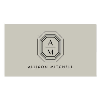 Taupe/Black Art Deco Monogram Interior Design Double-Sided Standard Business Cards (Pack Of 100)