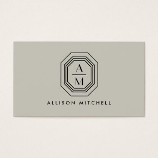 Taupe/Black Art Deco Monogram Interior Design Business Card
