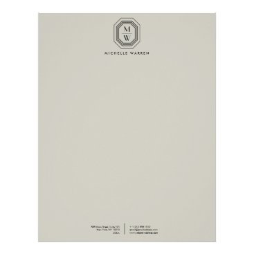 Taupe/Black Art Deco Monogram Letterhead