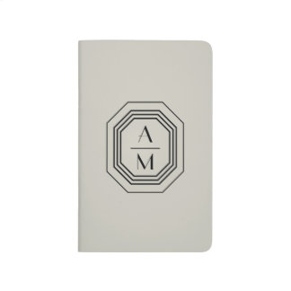Taupe/Black Art Deco Monogram Personalized Journal